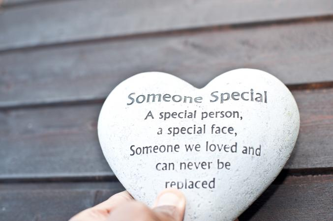 Heart shaped memorial stone