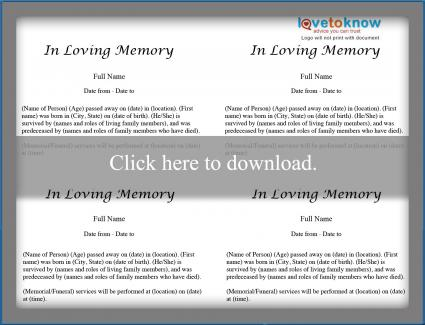 Free printable obituary templates download a printable for Fake obituary template