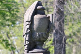draped urn