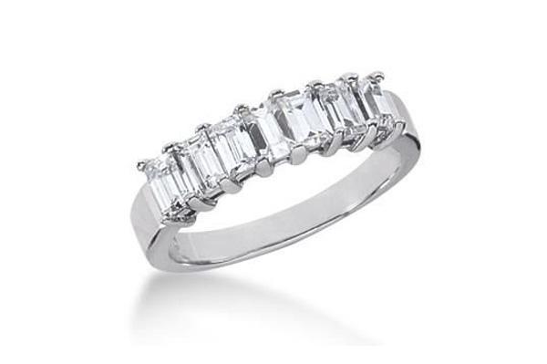 sparkling row of emerald cut diamonds ladies wedding band - Emerald Cut Wedding Rings