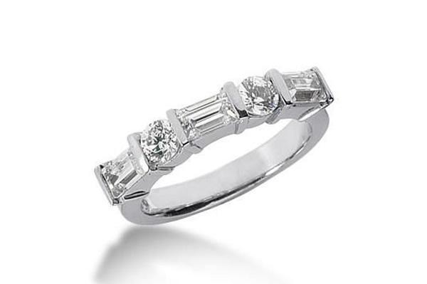 alternating emerald and round brilliant cut wedding band - Emerald Cut Wedding Ring