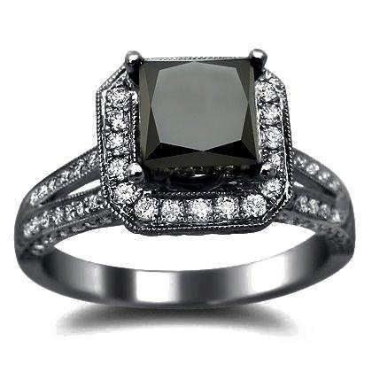 black diamond black black gold engagement ring at amazoncom - Wedding Rings Black