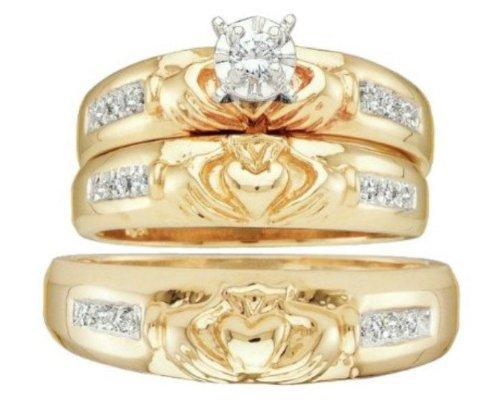 claddagh 3 ring set - Claddagh Wedding Ring Sets