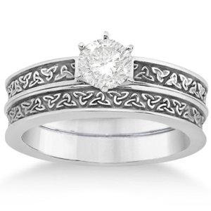 trinity knot bridal set source contrasting celtic knot ring bands - Irish Wedding Ring Sets