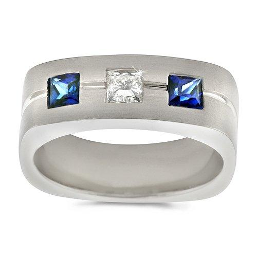 White Gold Amp Sapphire Mens Wedding Ring Slideshow