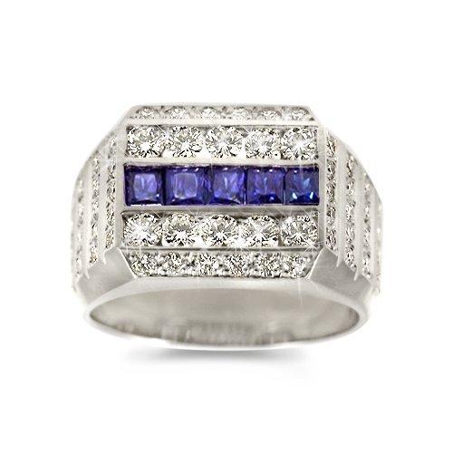 White Gold Amp Sapphire Mens Wedding Ring Slideshow