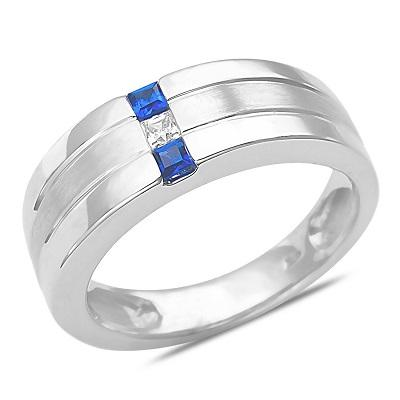 White Gold Sapphire Mens Wedding Ring