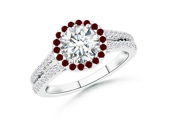 engagement accents ruby ring rings with diamonds round accent
