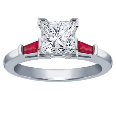 Tapered Baguette Ruby Accents ring