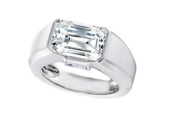 alternating emerald and round brilliant cut wedding band source modern horizontal bezel set band - Emerald Cut Wedding Ring