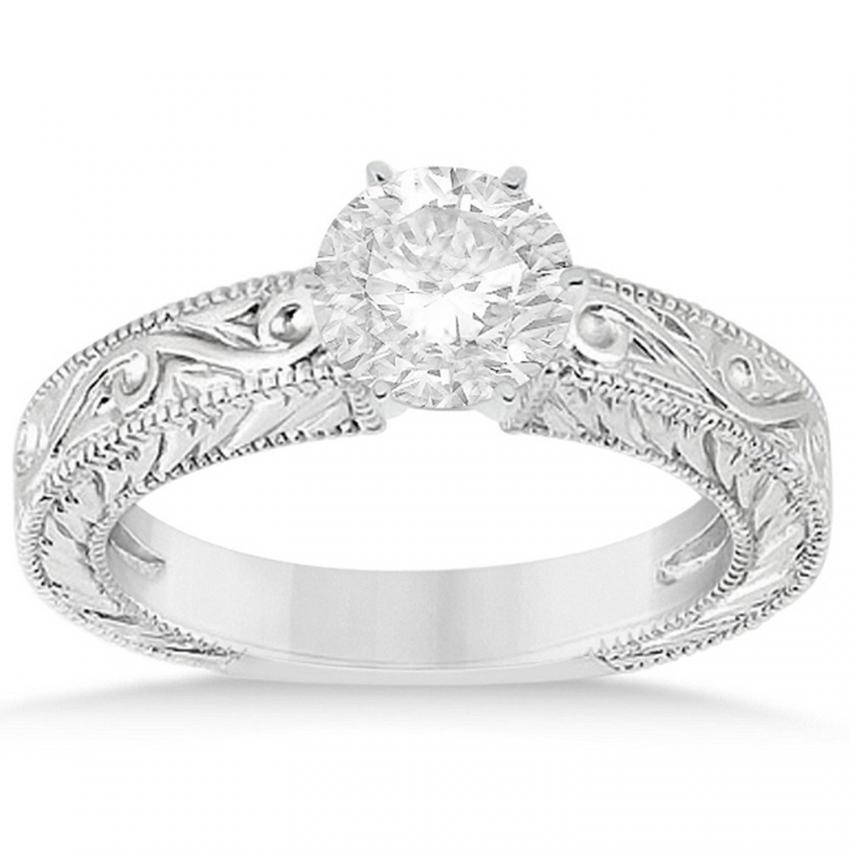 womens diamond solitaire engagement ring setting w vintage filigree design in fine platinum - Big Wedding Rings