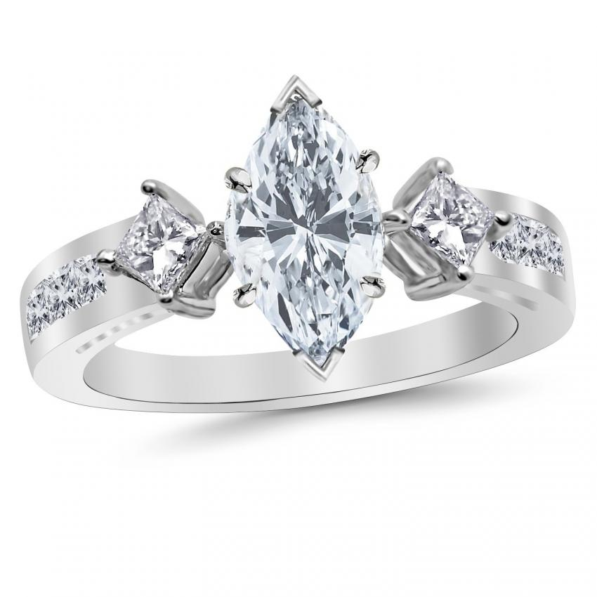 marquise cut diamond engagement ring in platinum - Big Wedding Rings
