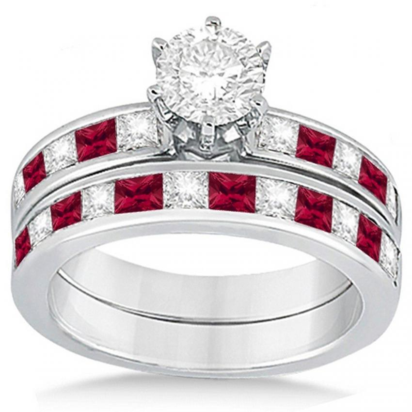 Channel set diamond with ruby accents