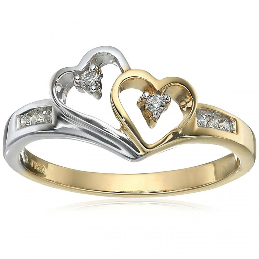 two toned heart ring - Redneck Wedding Rings