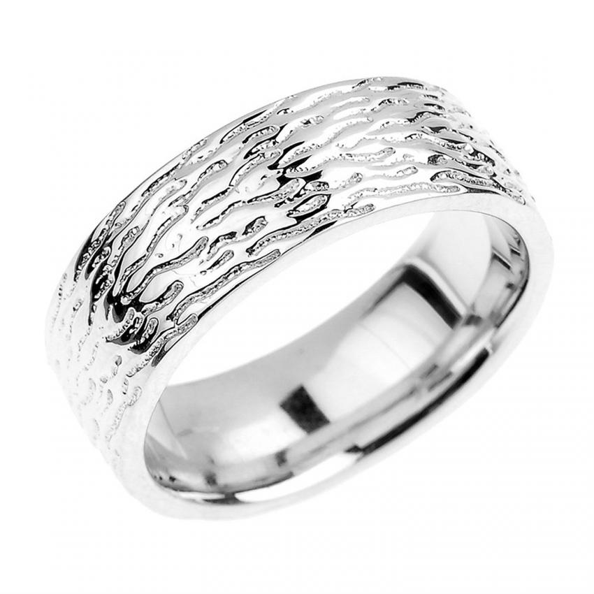 textured silver band - Silver Wedding Ring