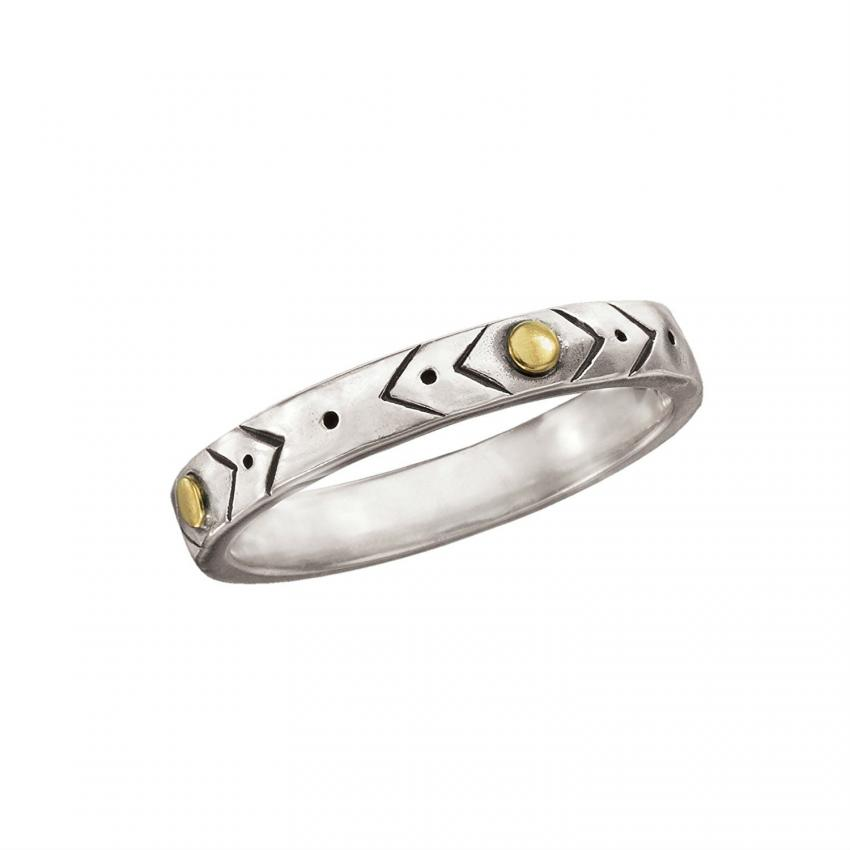 etched band with brass - Silver Wedding Ring