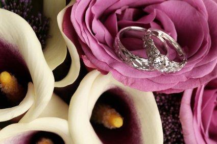 Wedding rings flowers  Two-Tone Flower Wedding Bands