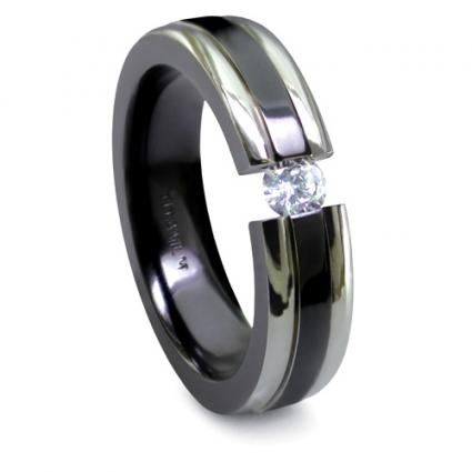 A black titanium engagement ring is a startlingly elegant alternative to a