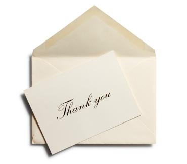 thank you card or note