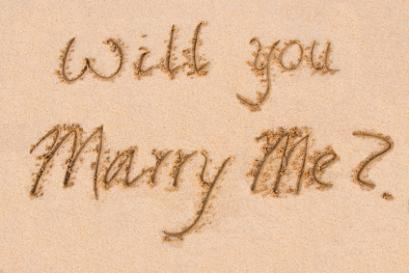 Marriage proposal written on the beach