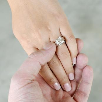 Engagement ring on a woman's finger