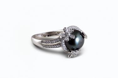 black pearl ring - Pearl Wedding Rings