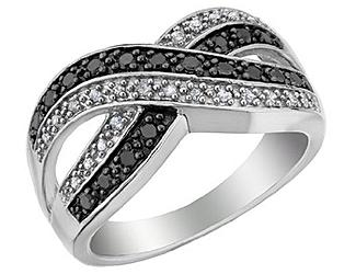White and Black Diamond Infinity Ring 1/3 Carat (ctw) in Sterling