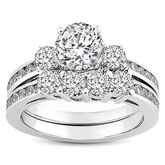 White Gold Round Diamond Ladies Bridal Ring Engagement Matching Band Set