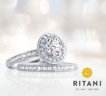 Ritani Halo engagement ring set