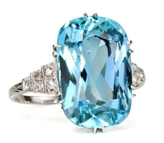 Art Deco aquamarine diamond ring from The Three Graces © Photo courtesy of The Three Graces