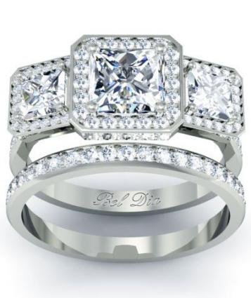 Halo Three Stone Princess Wedding Ring Set from deBebians