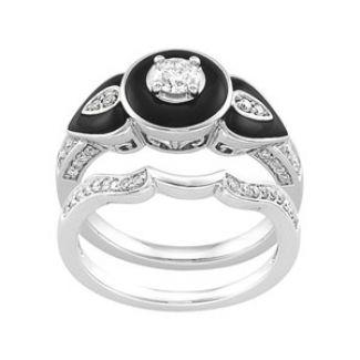Art Deco Onyx and Diamond Wedding Set from Jan's Jewells