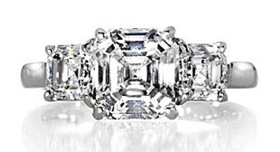 Asscher cut diamond ring, photo courtesy of David Levy