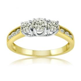 10K Yellow Gold Three Stone Plus Diamond Anniversary Ring at Amazon.com