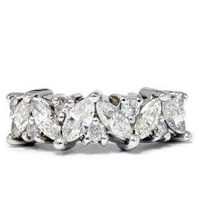 Marquise and Round Cut Diamond Anniverary Ring at Amazon