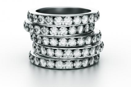 Stack of diamond eternity bands
