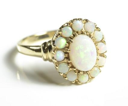 opal ring with opal halo