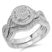 14K White Gold 1 1/2 ct. Diamond Bridal Engagement Set