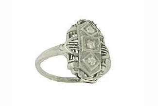Sterling silver antique style filigree diamond ring