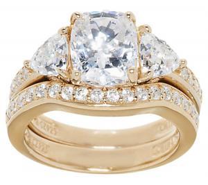 epiphany diamonique 295 ct tw 100 facet 2 pc bridal ring set - Diamonique Wedding Rings
