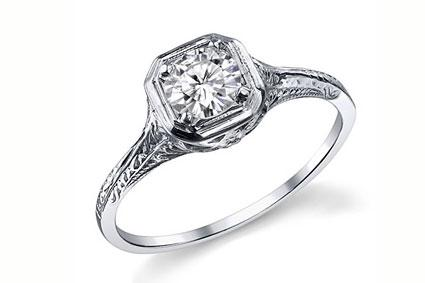 paloma 5ct round brilliant cut antique reproduction ring at moissanitecocom - Fake Wedding Ring