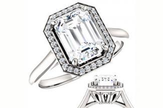 Emerald cut Moissanite & Diamond Halo Engagement Ring Model No: eng1002