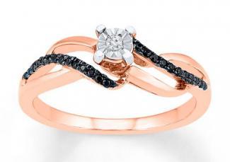 Diamond Promise Ring 1/6 ct tw Black/White 10K Rose Gold