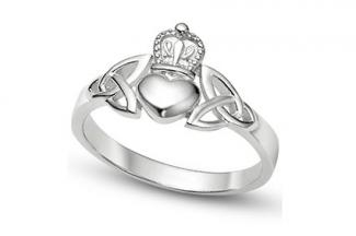 Sterling Silver Claddagh Ring with Trinity Symbols