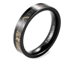 Women's Black Titanium Greenery Camo Engagement Ring