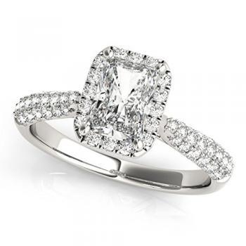 emerald cut halo set ring from amazoncom - Emerald Cut Wedding Rings