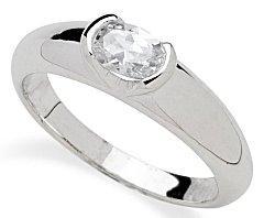 oval ring in bezel setting