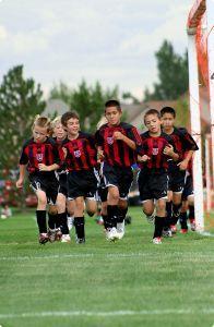 Soccer team warming up