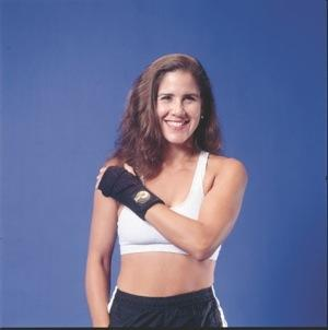 Smiling woman with toned arms
