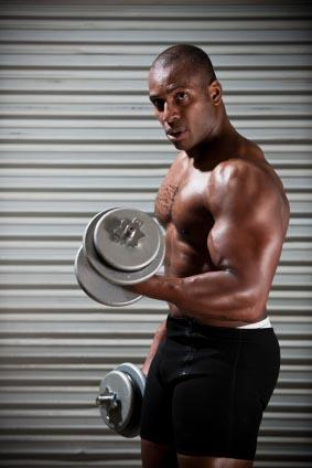 Athlete lifting weights.